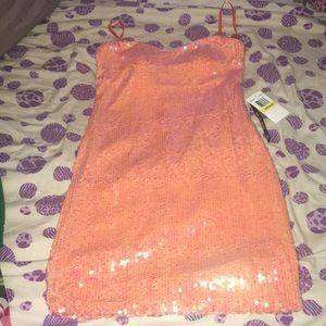 Pink/Coral sequin slip on dress